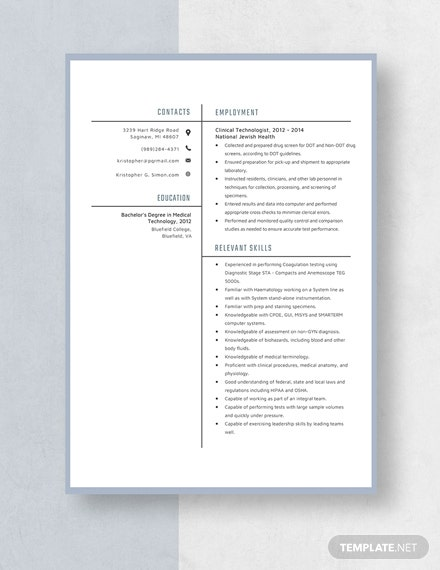 Clinical Technologist Resume Template