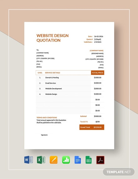 Website Design Quotation Template