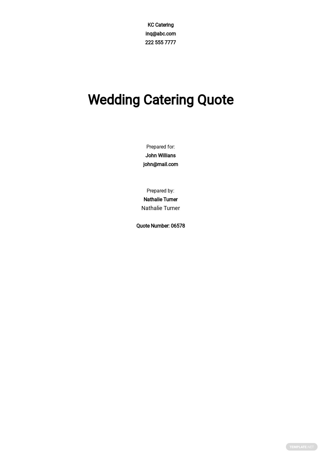Wedding Catering Quote Template