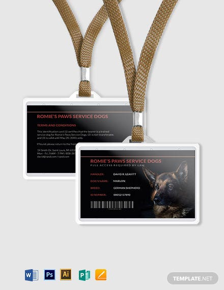 Sample Service Dog/Animal ID Card Template