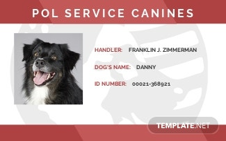 Service Dog Animal ID Card Format Template