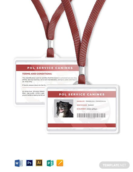 blank service dog animal id card template word psd. Black Bedroom Furniture Sets. Home Design Ideas