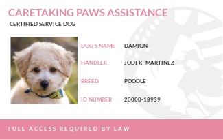 Service Dog ID Card Template