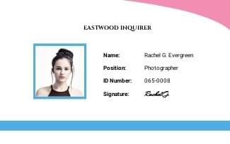 Simple Photographer ID Card Template