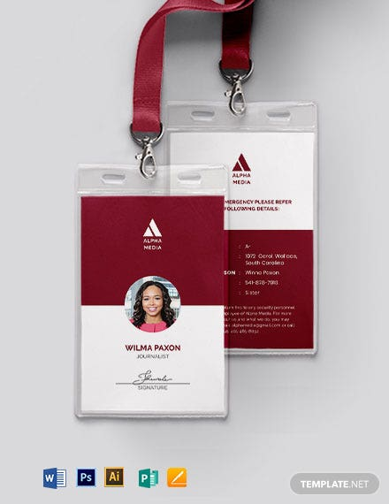 simple press id card template