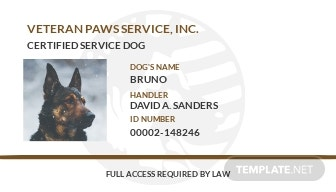 Simple Service Dog/Animal ID Card Template