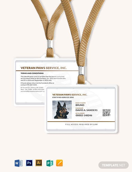 Simple service dog/ Animal ID Card Template