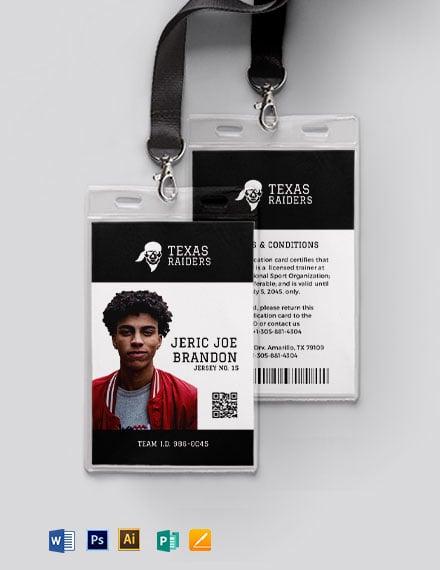 Simple sports ID Card