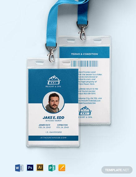 Sample Ski Resort ID Card Template