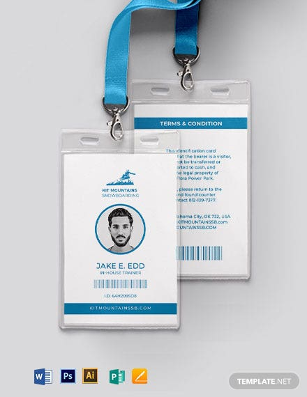 Simple SnowBoard ID Card Template