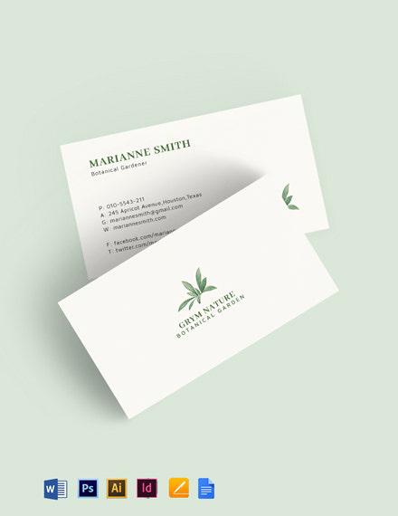 Botanical Garden Business Card Template