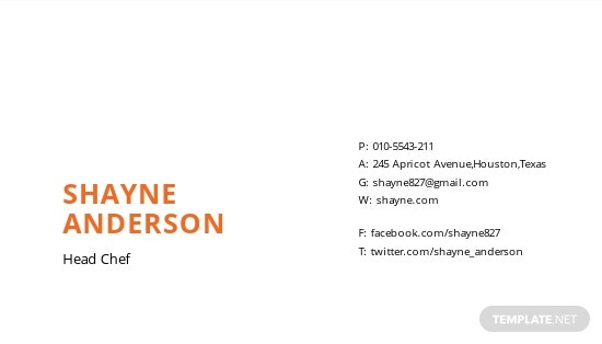 Chef Business Card Template [Free JPG] - Illustrator, Word, Apple Pages, PSD, Publisher