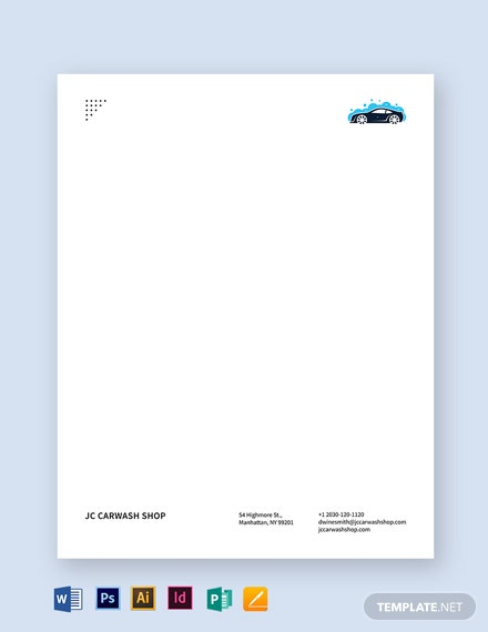 Car Wash Letterhead Template