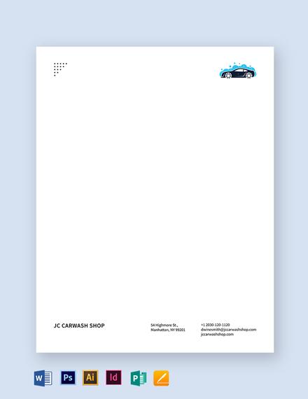 Car Wash Letterhead Template