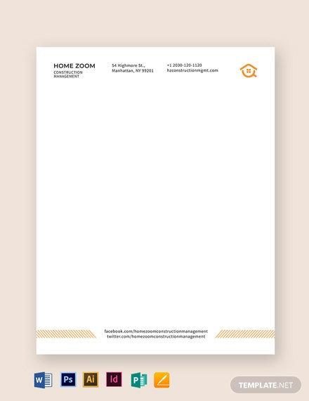 Construction Management Letterhead Template
