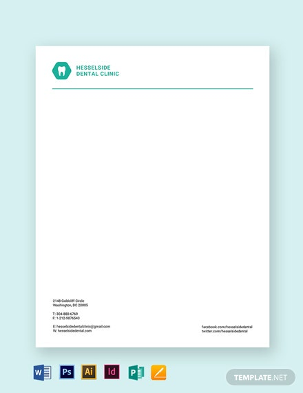 Dental Clinic Letterhead Template