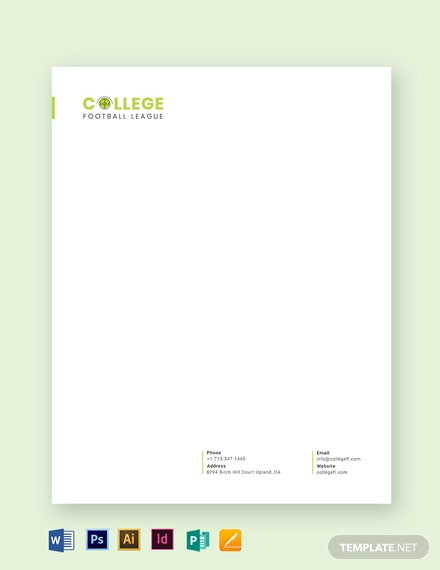 Football Letterhead Template