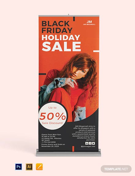 Black Friday Roll Up Banner Template