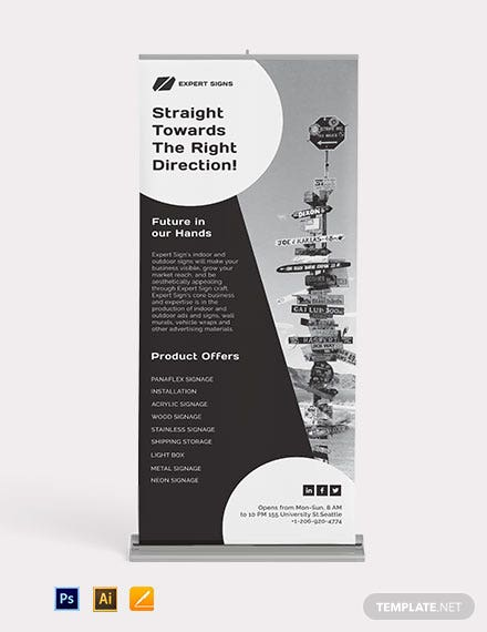 Roll Up Banner Signage Template
