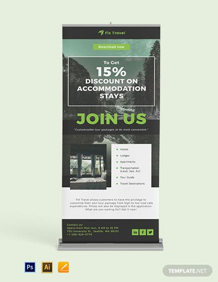 Mobile App Roll Up Banner Template