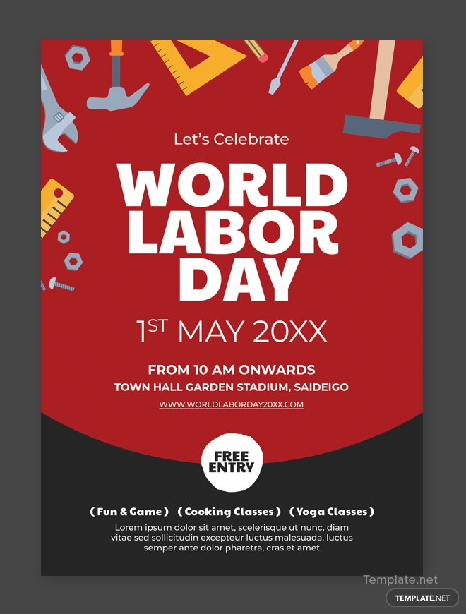 Free Labor Day Flyer Template In Adobe Photoshop  TemplateNet