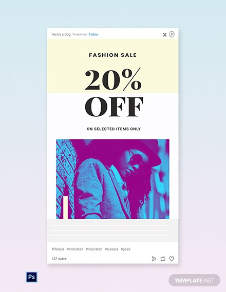 Free Fashion Clearance Sale Tumblr Post Template