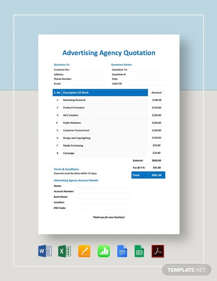 Simple Advertising Agency Quotation Template