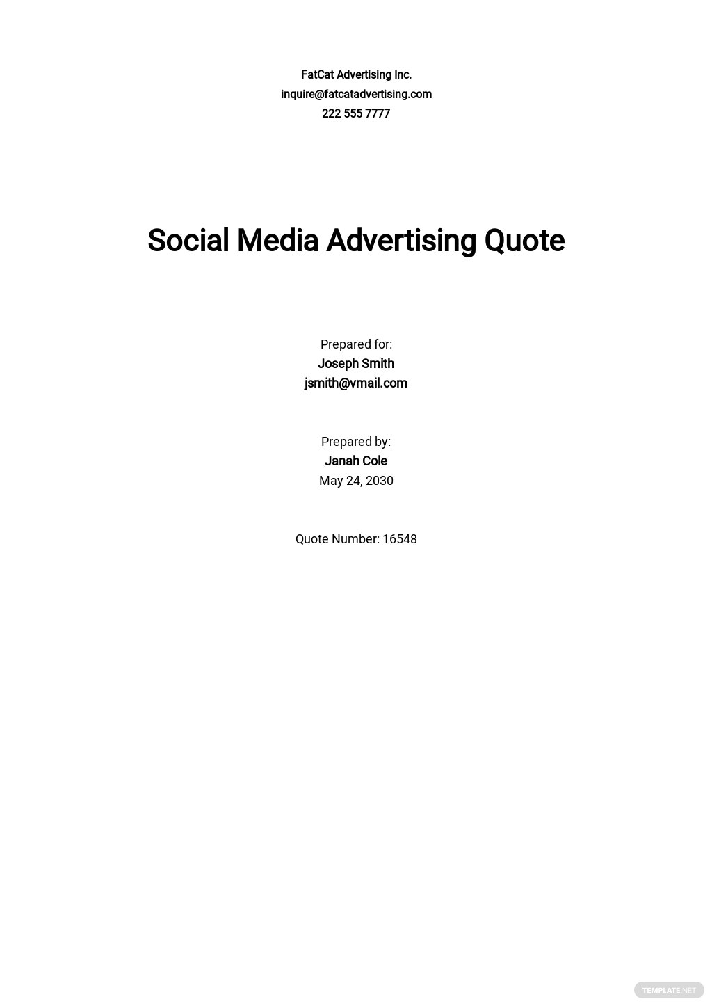 Sample Advertising Quotation Template