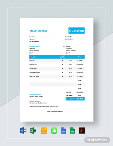 Simple Travel Agency Quotation Template