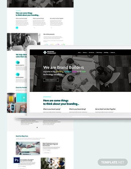 Branding Consultant PSD Landing Page Template