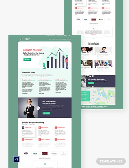 Business Coaching PSD Landing Page Template