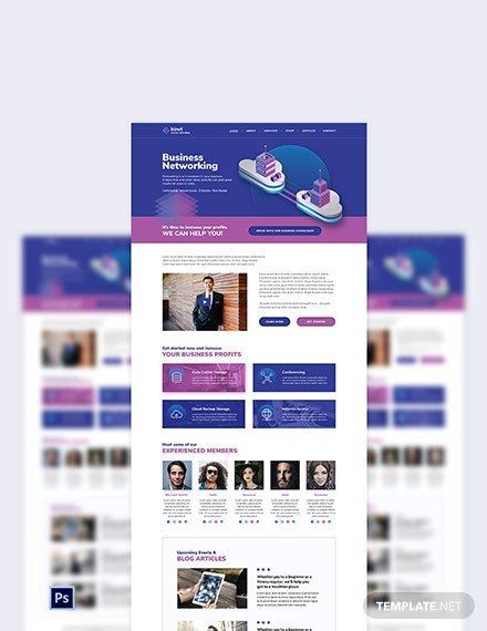 Business Networking PSD Landing Page Template
