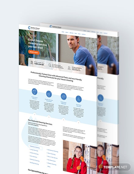 Cleaning Service PSD Landing Page Download