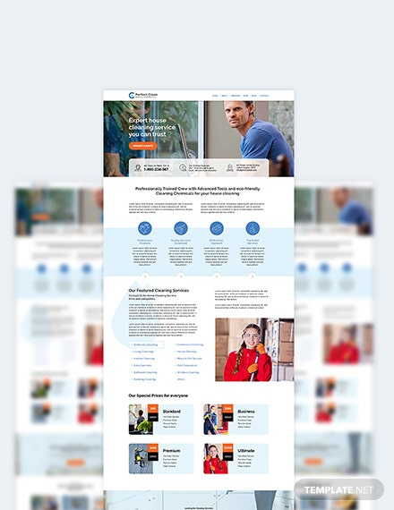 Sample Cleaning Service PSD Landing Page