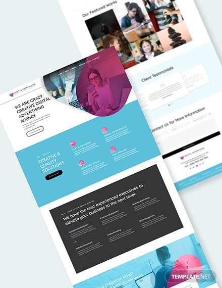 Digital Advertising Agency PSD Landing Page Doownload