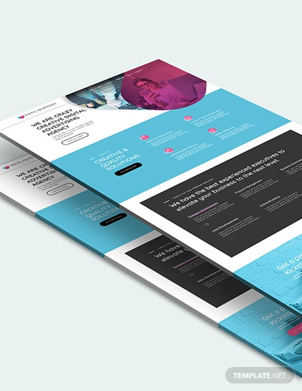 Sample Digital Advertising Agency PSD Landing Page