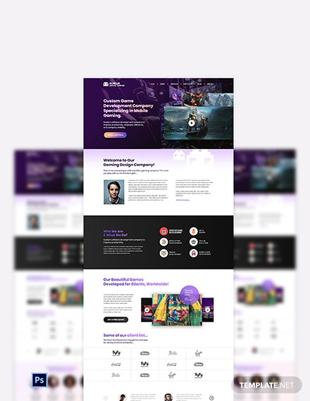Gaming Company PSD Landing Page Template