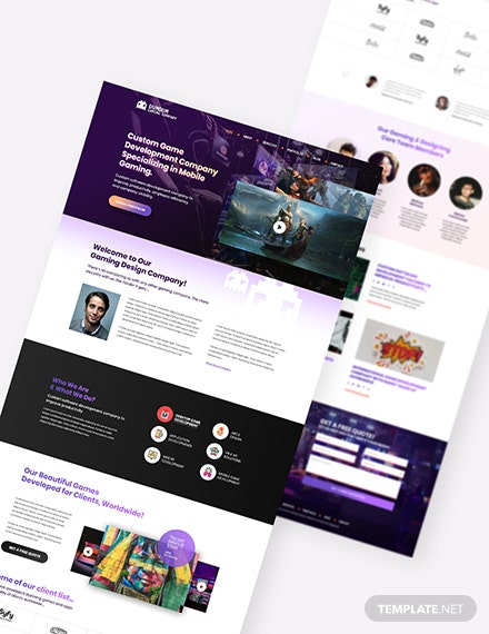 Sample Gaming Company PSD Landing Page