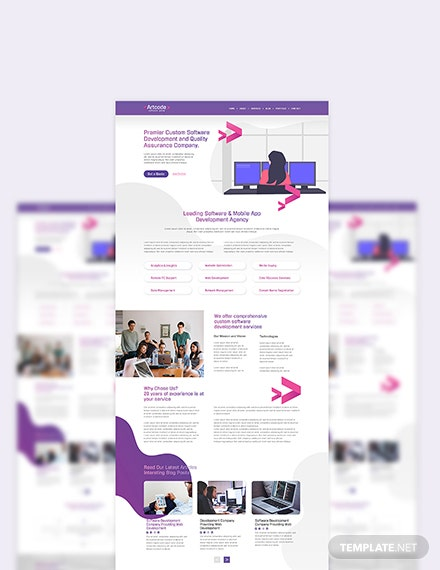 Sample IT Software PSD Landing Page