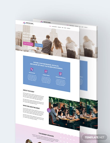 Meetup Event PSD Landing Page Download