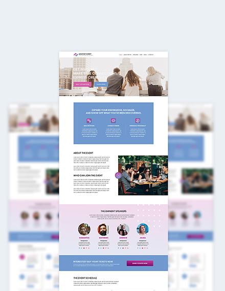 Sample Meetup Event PSD Landing Page