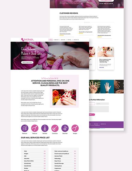 Nail Studio PSD Landing Page Download