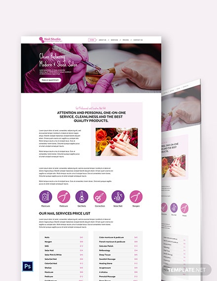 Nail Studio PSD Landing Page Template
