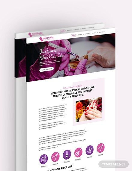 Sample Nail Studio PSD Landing Page