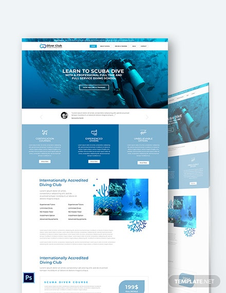 Scuba Diving School Shop PSD Landing Page Template