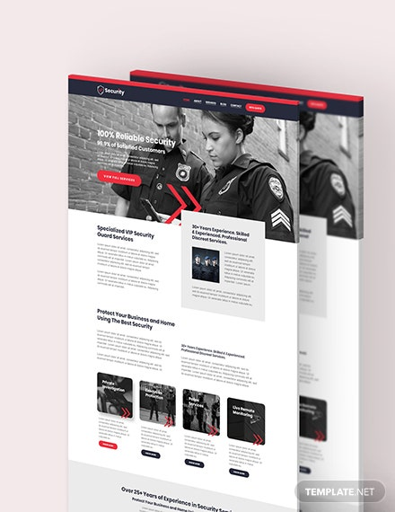 Sample Security Guard Services Shop PSD Landing Page