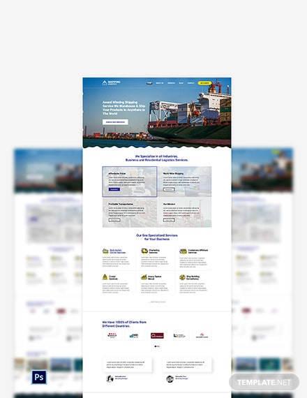 Shipping PSD Landing Page Template