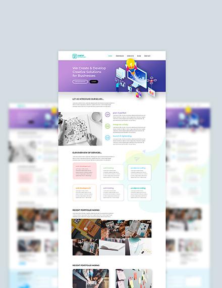Sample Startup PSD Landing Page