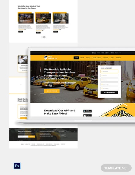 Taxi Services PSD Landing Page Template