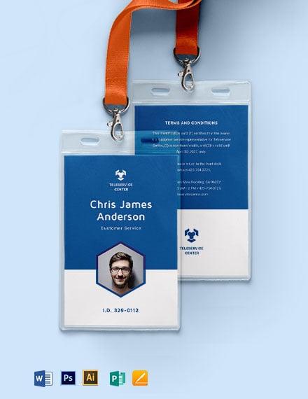 Call Center ID Card Template